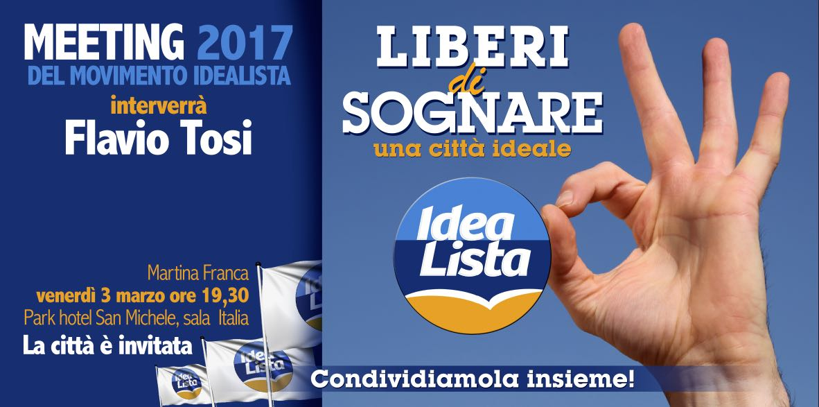 Meeting del Movimento Politico IdeaLista, interverrà anche Flavio Tosi